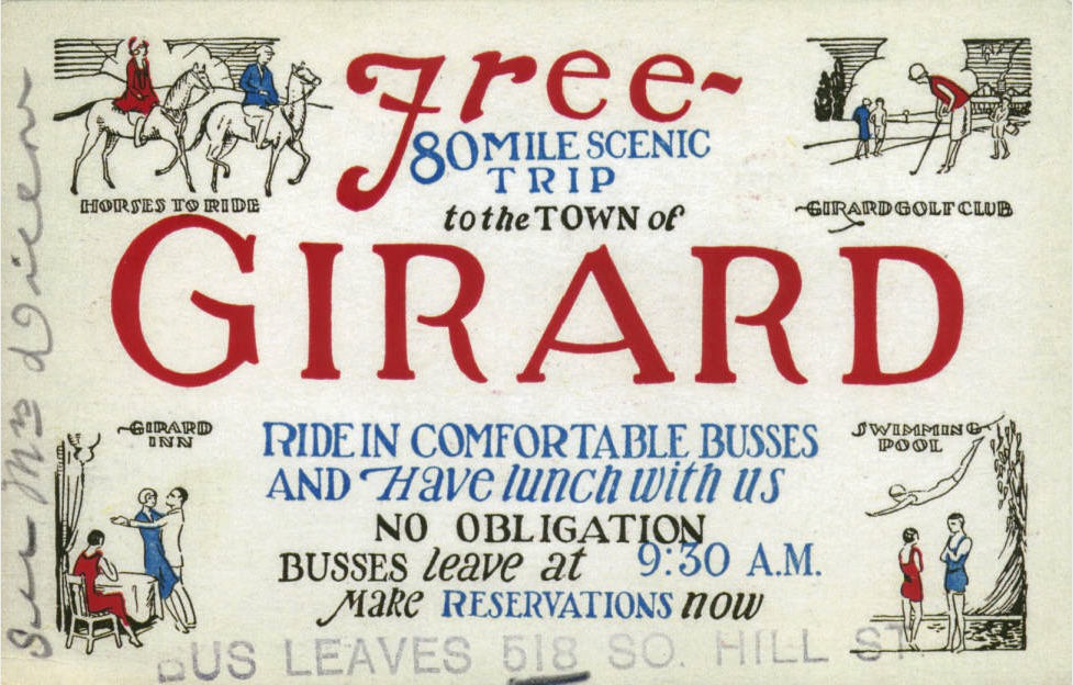 Fig. 21-Free trip to Girard ticket