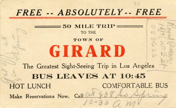 Fig. 25-Ticket for a sight seeing trip to Girard (Now Woodland Hills)